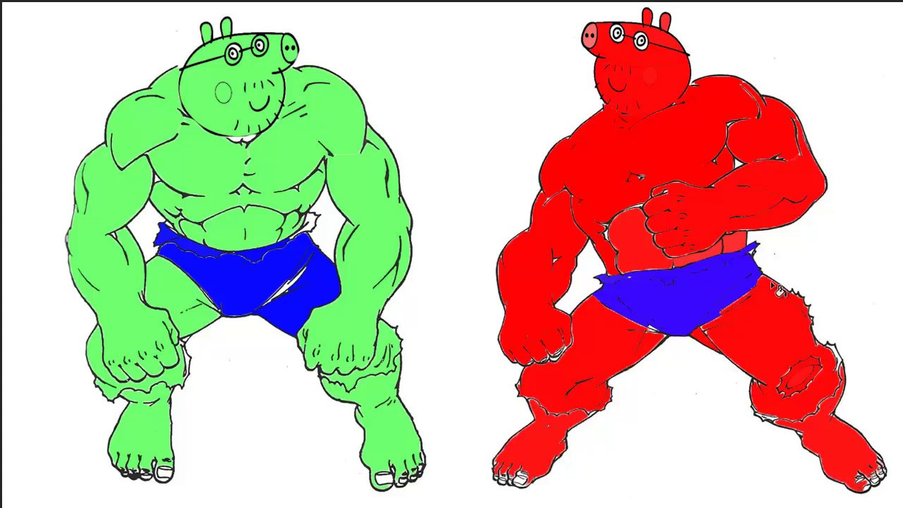 Peppa Pig Vs Hulk Coloring Book/ Coloring Pages For Kids - YouTube