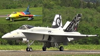 SPECTACULAR FLIGHT PERFORMANCE 2X RC JET A FA-18 AND A HAWKER HUNTER RAINBOW