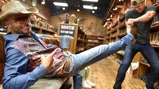 CMT's Ed Bassmaster Show: Dustin Lynch and Mumbles Boot Shopping Prank