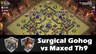 Surgical GoHog Strategy vs Maxed Th9 Internet Base - Clash Of Clans