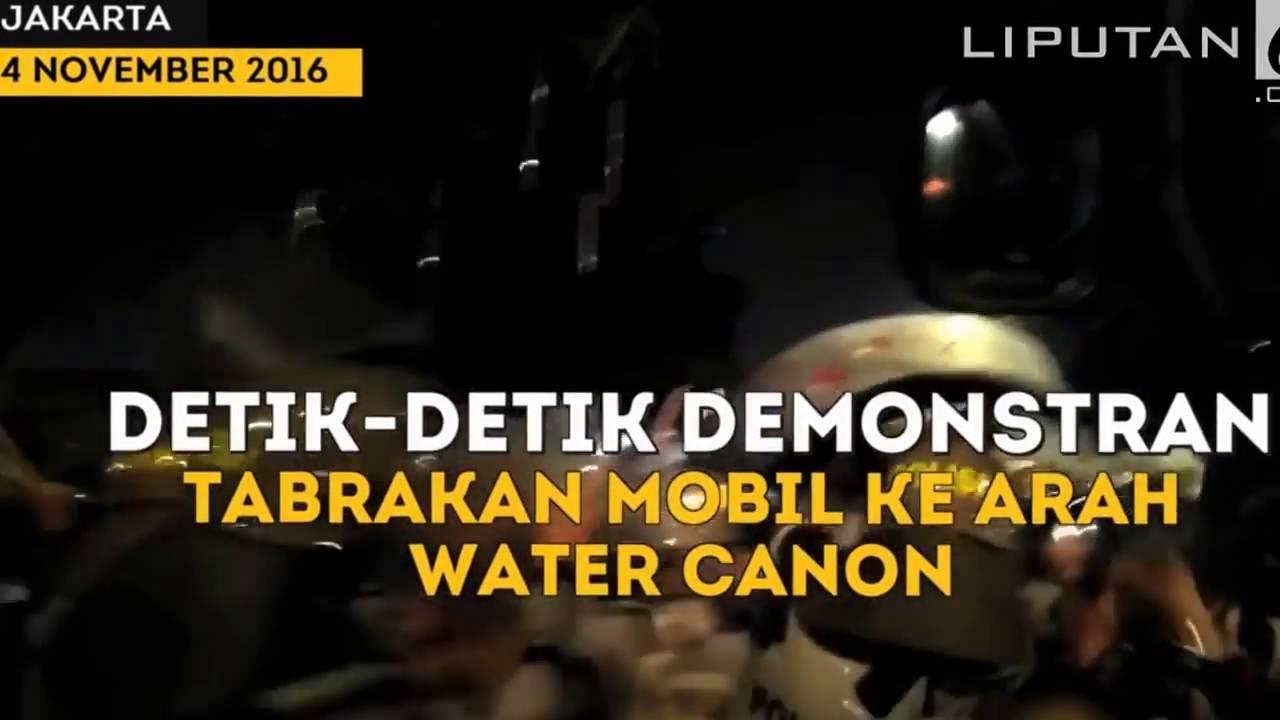 Detik detik Demonstran Tabrakan Mobil ke Arah Water Canon