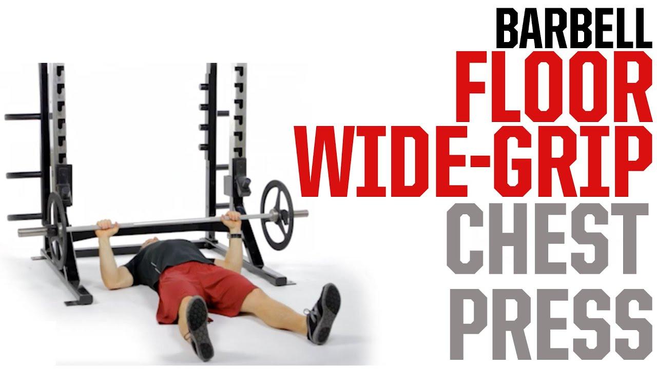Barbell Floor Wide Grip Chest Press Avoid Shoulder Pain