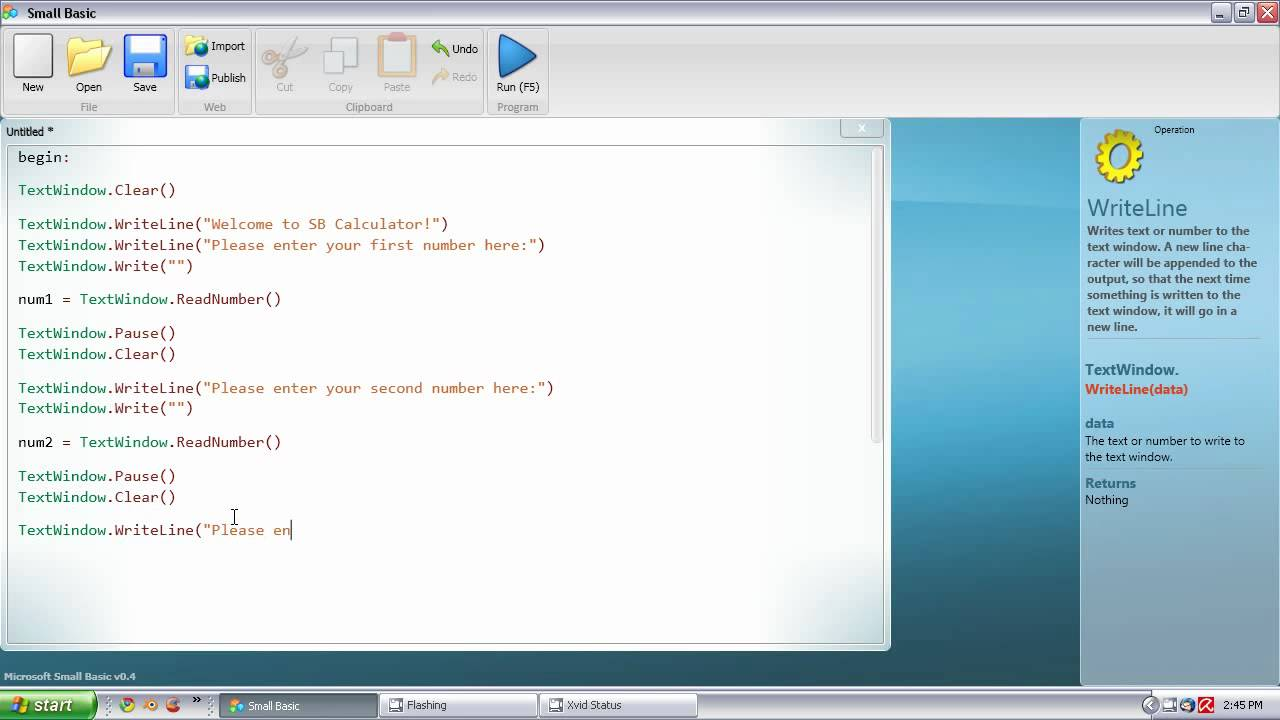 Small Basic Tutorial 4 Simple Calculator YouTube