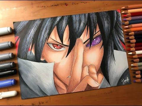 Speed Drawing - Sasuke Uchiha's Sharingan & Rinnegan (Naruto Shippuden) [HD]
