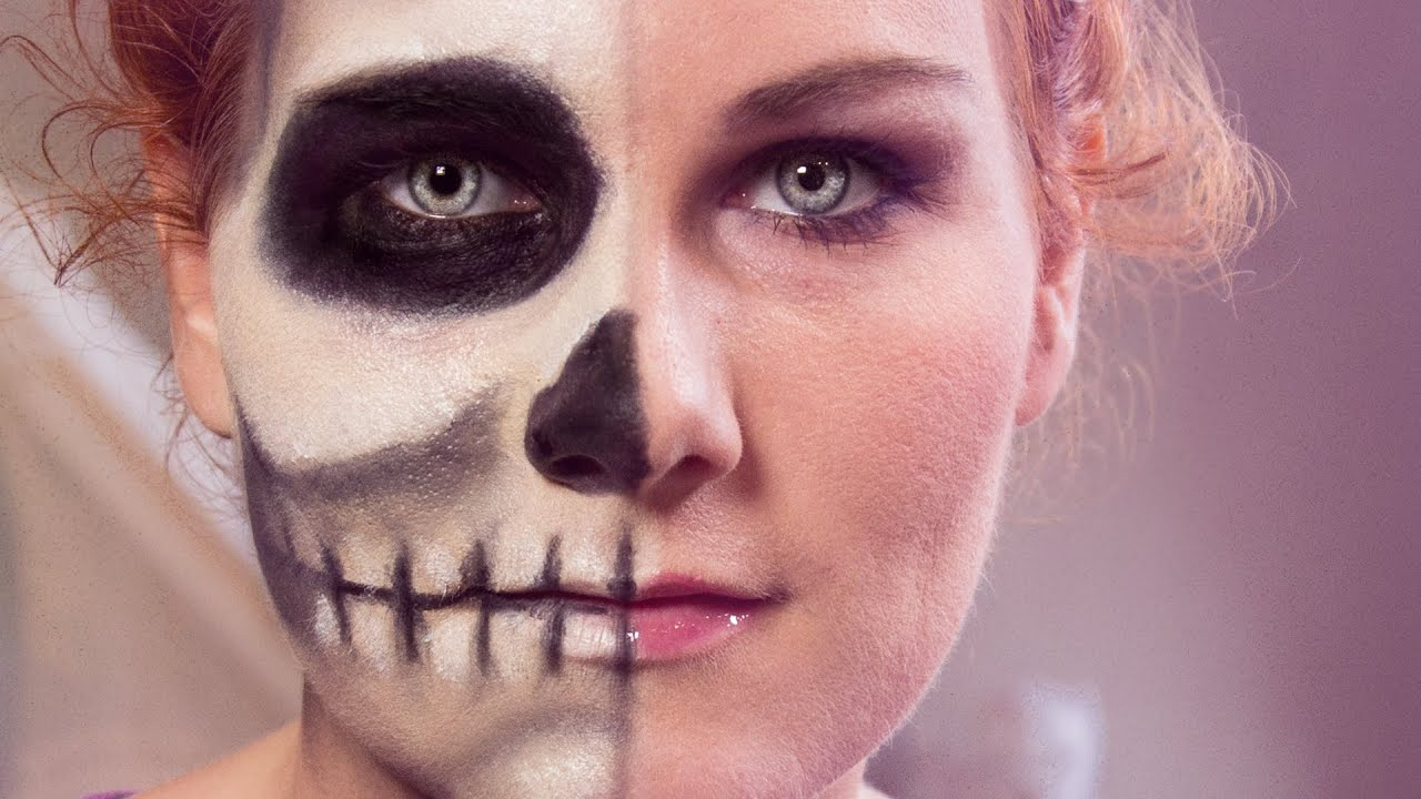totenkopf schminken two face skull beauty easy halloween makeup youtube. Black Bedroom Furniture Sets. Home Design Ideas