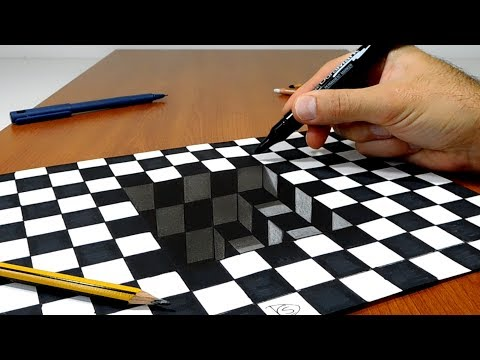 3D Trick Art on Paper Stairs in Chess