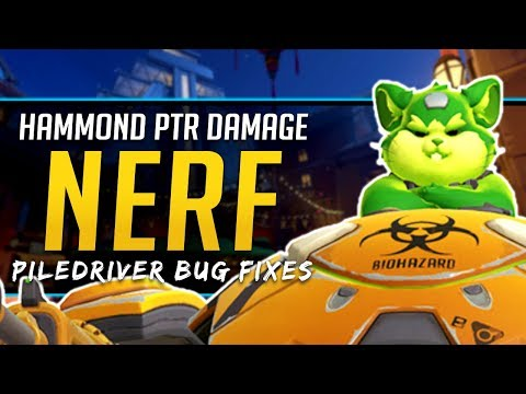 Overwatch HAMMOND DAMAGE NERF - PTR Piledriver bug fixes (Wrecking Ball) thumbnail
