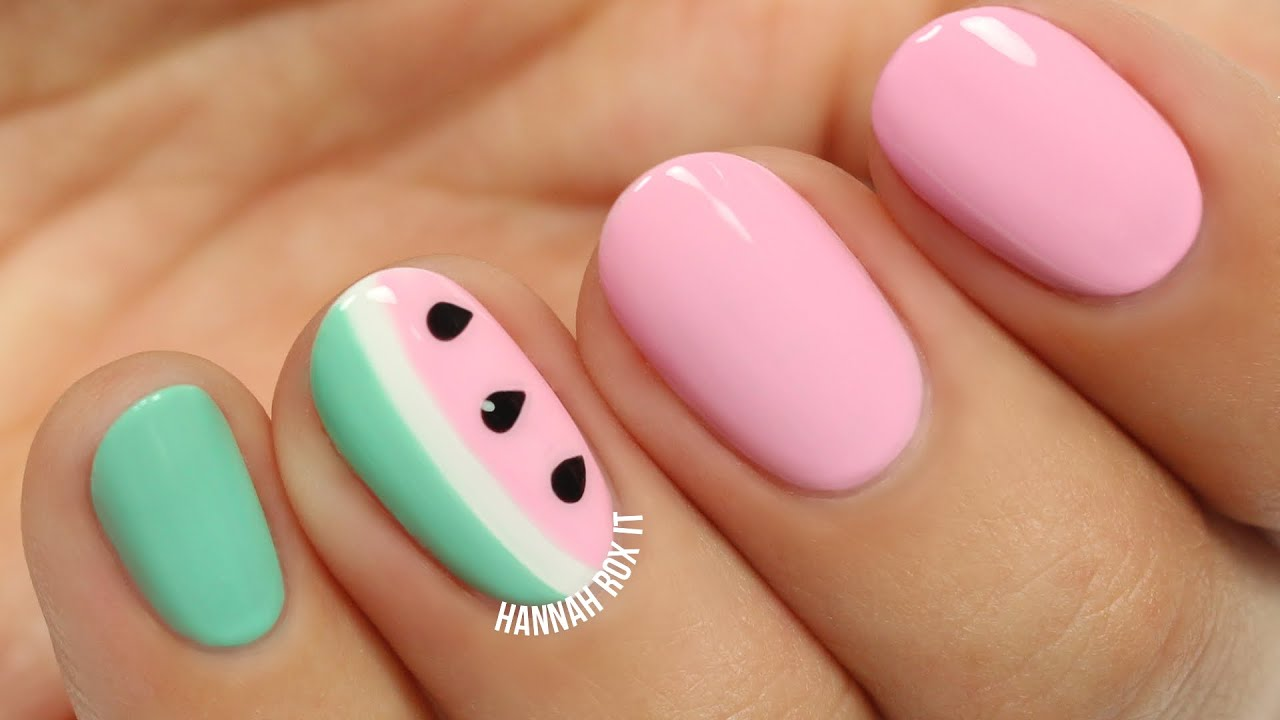 Cute Watermelon Nail Art Youtube