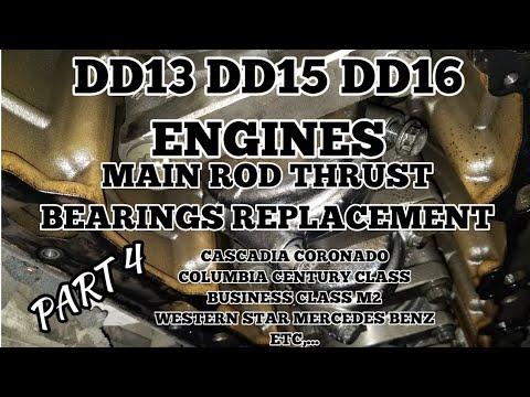 Freightliner cascadia DD13 DD15 DD16 main rod thrust play crankshaft  bearings replacement 4