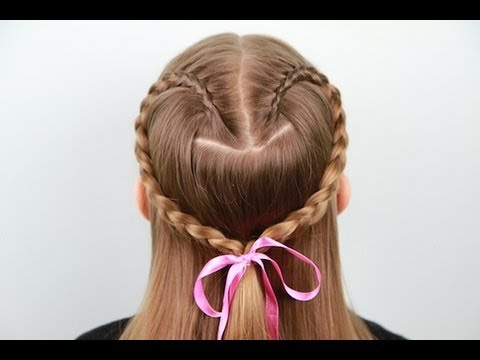 Hairstyles For Long Hair Cgh : Lace Braid Heart Valentines Day Cute Girls Hairstyles - YouTube