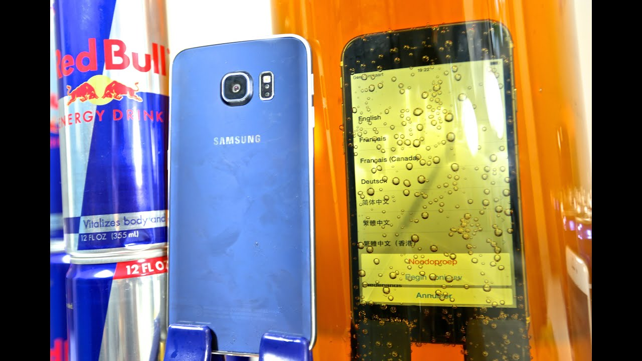 Samsung Galaxy S6 Edge VS iPhone 6 DEEP Redbull Test - Waterproof?