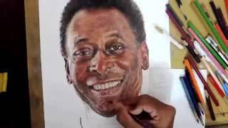 Desenhando o Pelé - Drawing Pelé