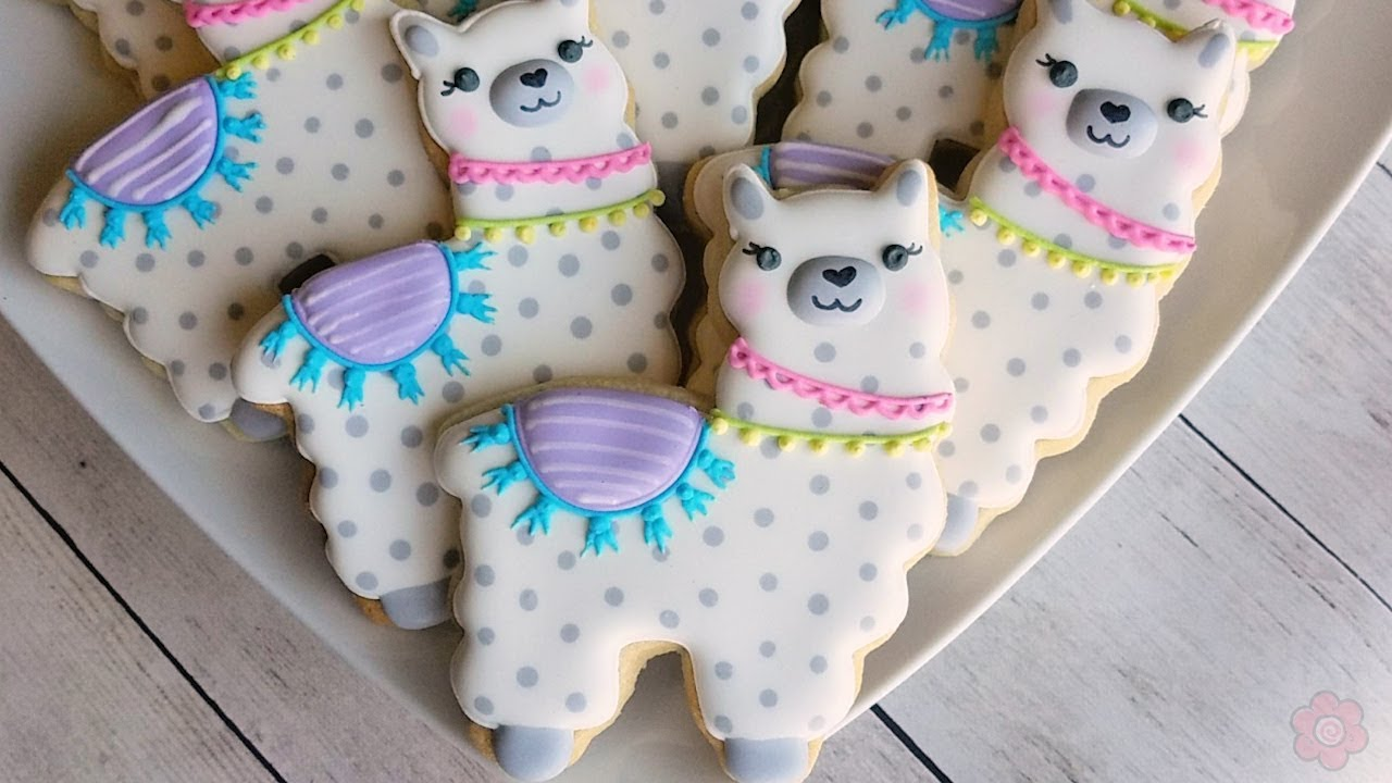 How to Decorate a Cute Llama Cookie - YouTube