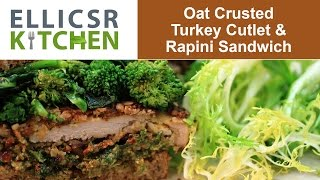 Oat Crusted Turkey Cutlet And Rapini Sandwich