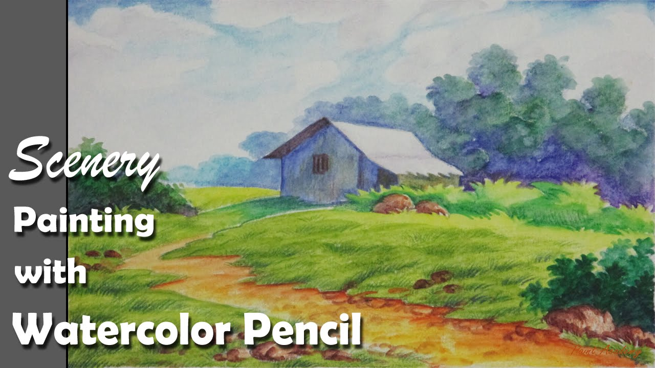 How to paint a scenery with watercolor pencil step by for Watercolor steps