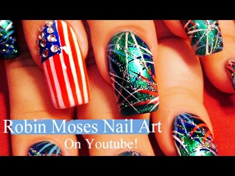 Easy 4th Of July Nail Art Design Tutorial Firework Nails Youtube