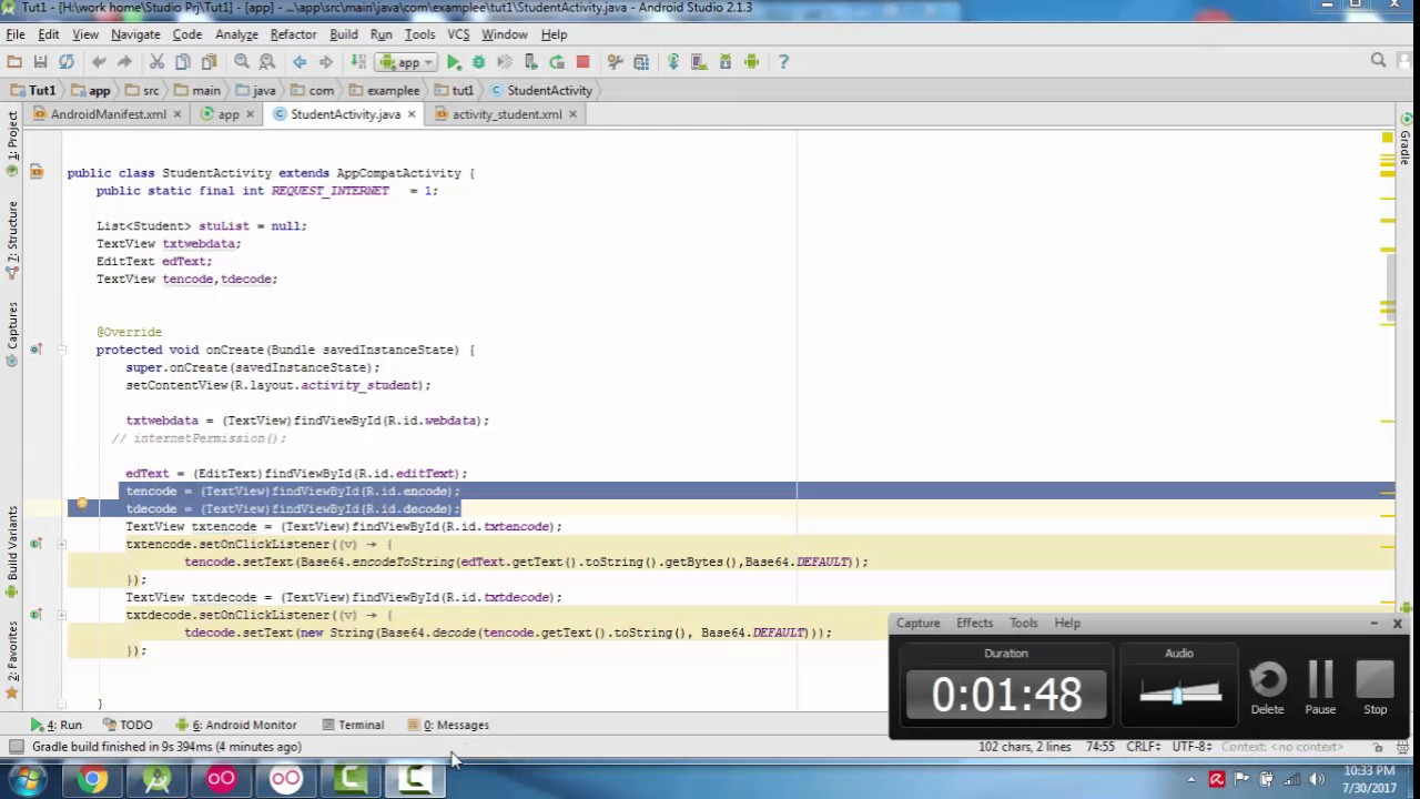 Android - Encode and Decode Base64 String - YouTube