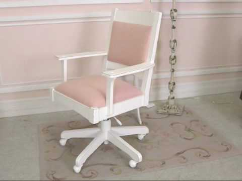 Shabby Cottage Chic Pink Linen Swivel Office Chair  The