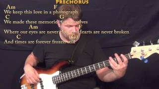 Photograph (Ed Sheeran) Bass Guitar Cover Lesson in C with Chords/Lyrics