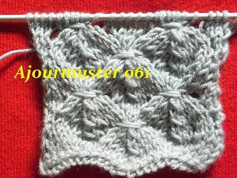 Ajourmuster Erdbeere 061*Stricken lernen*Muster für Pullover*Mütze*Kreativ Tutorial Handarbeit