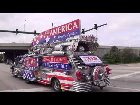 Super TRUMP MOBILE at Cars & Coffee Palm Beach Wow! You MUST see this