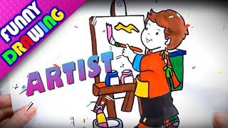 DIY - How to draw an artist easy - Dạy bé vẽ và tô màu họa sĩ