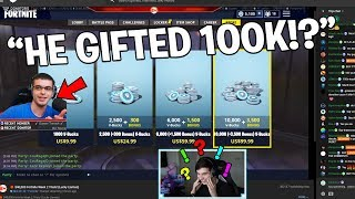 "Gifting ""Nick Eh 30"" 100k V Bucks in Fortnite.. (Fortnite Battle Royale)"