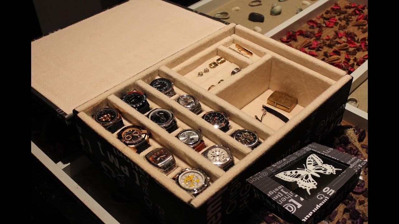 Aql como hacer relojero o joyero para relojes youtube - Como decorar un joyero de madera ...