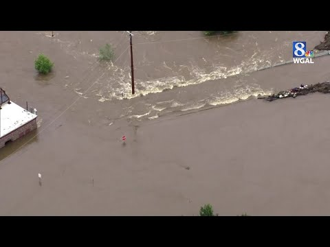 Aerials of flooding in the Hummelstown area