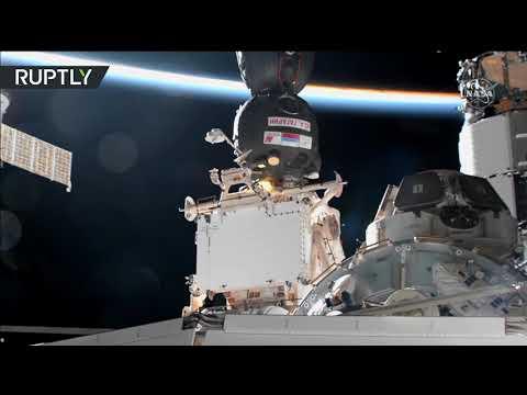 لحظة التحام مركبة -سويوز يوري غاغارين- بمحطة الفضاء الدولية  - 19:58-2021 / 4 / 9