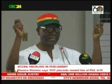 Ghana's finance minister speaks on minority's heckling