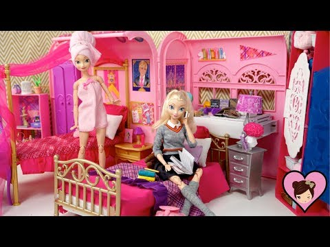 Barbie Elsa & Anna  School Evenight Routine -  Rapunzel Pink Spa Bath & Dorm Room