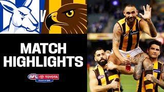 Shaun Burgoyne makes history   North Melbourne v Hawthorn Highlights   Round 20, 2019   AFL