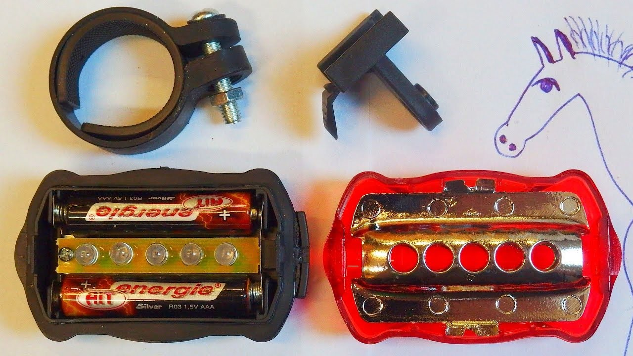 Shine Bright Rear Bike Light 5 LED aaa Battery Powered
