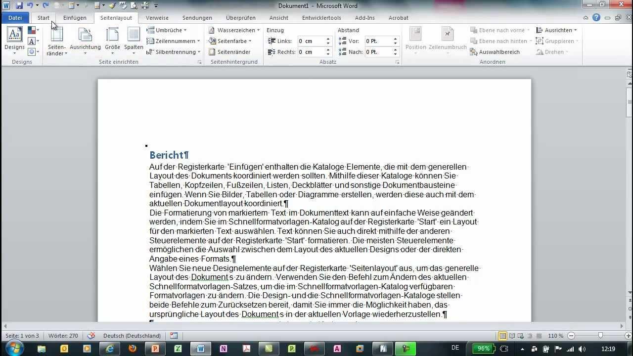 Word Seiten Im Hoch Und Querformat Plus Seitenzahlen Youtube