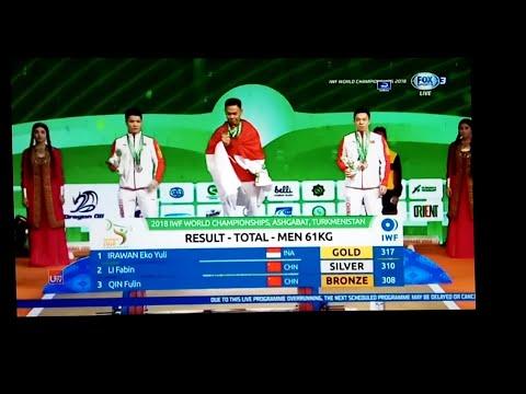 Eko yuli irawan juara dunia IWF 2018 New Rekor Dunia kls 61 kg Ashgabat Turkmenistan Mp3