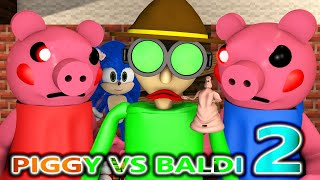 PIGGY vs BALDI ROBLOX CHALLENGE 2! Ft SONIC horror Chapter 1 Peppa Granny Minecraft Animation Game