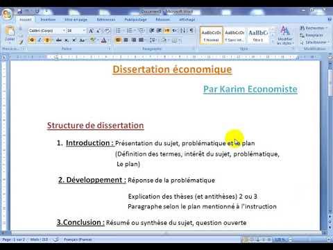 Comment Faire Une Dissertation Economique