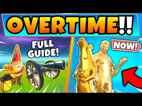 Fortnite OVERTIME CHALLENGES GUIDE! Gnomes And Easy XP In Battle Royale! (Location Domination)