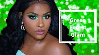 GRWM Forest Green Makeup Look - Upretty Hair