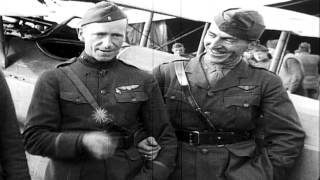 Eddie Rickenbacker and other officers of United States 94th Aero Squadron with th...HD Stock Footage