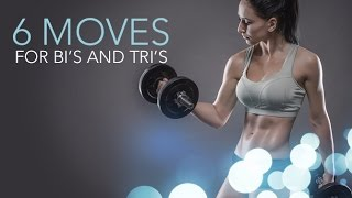 Slim Sculpted Arms Workout (6 MOVES FOR BI'S AND TRI'S!!)