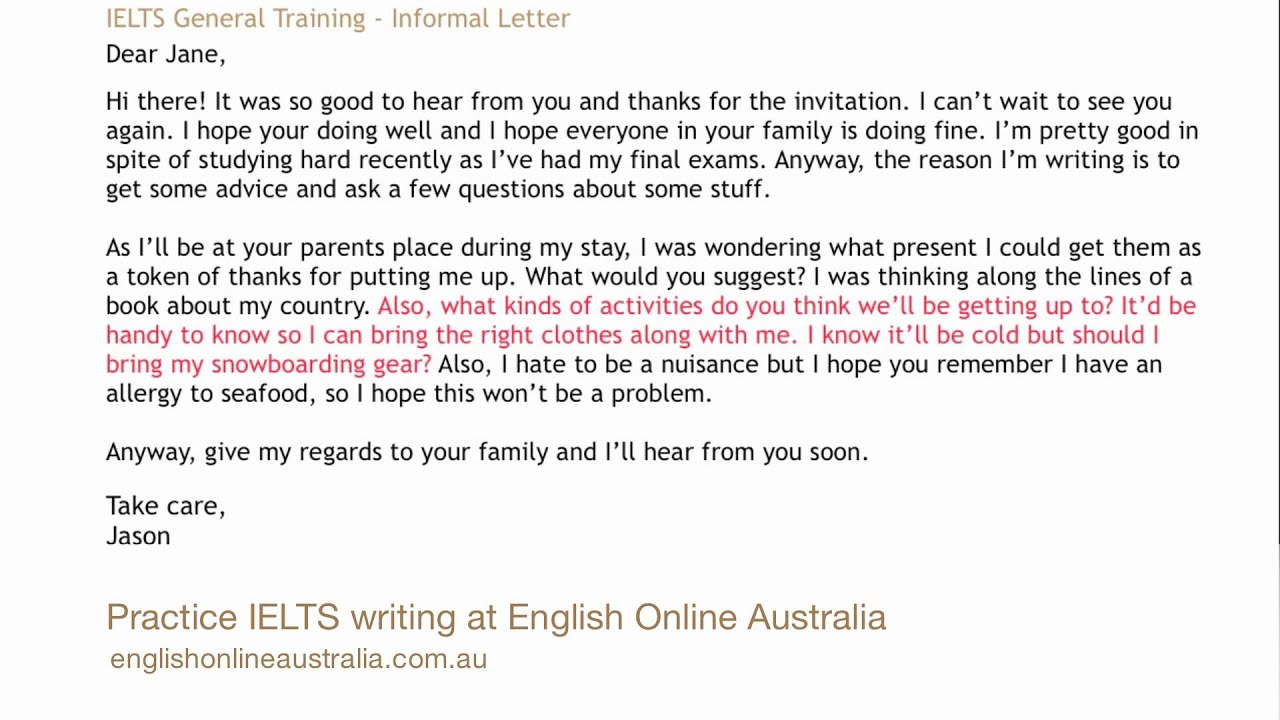 ielts writing lesson 2 general task 1 informal letter