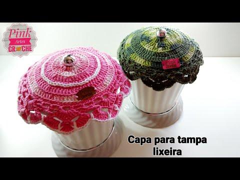 Capa para Lixeira Bailarina - Pink Artes Croche by Rosana Recchia