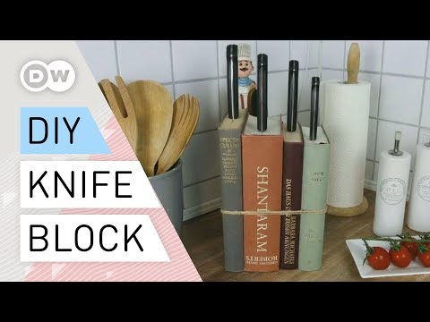 DIY - How to make a knife block out of books