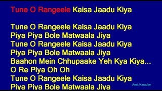 Tune O Rangeele Kaisa Jaadu Kiya - Lata Mangeshkar Hindi Full Karaoke with Lyrics