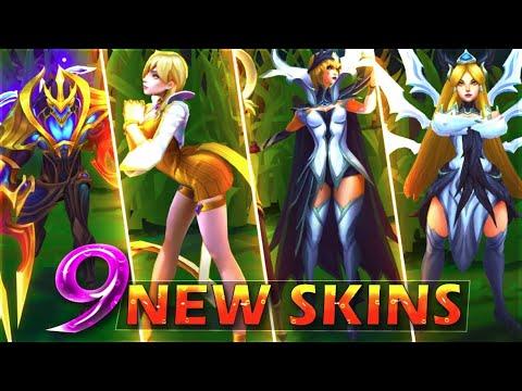 ALL 9 NEW SKINS SPOTLIGHT - Galaxy Slayer Zed, K/DA Evelynn Prestige,  Conqueror Alistar, 6 IG Skins