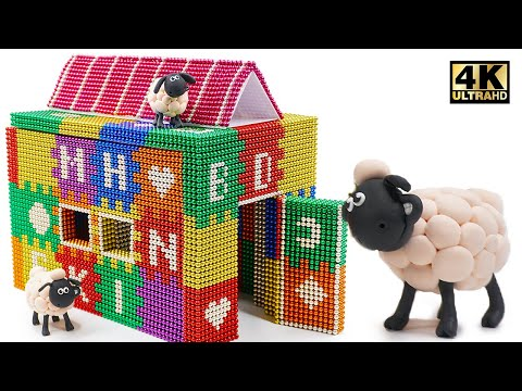 DIY - How To Build Colored Playhouse From Magnetic Balls ( Magnet ASMR ) | Magnet World 4K