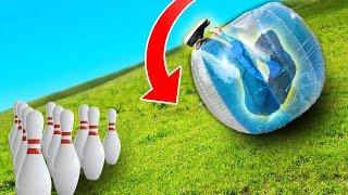 Human Bowling Ball Challenge!! (GIANT HILL)
