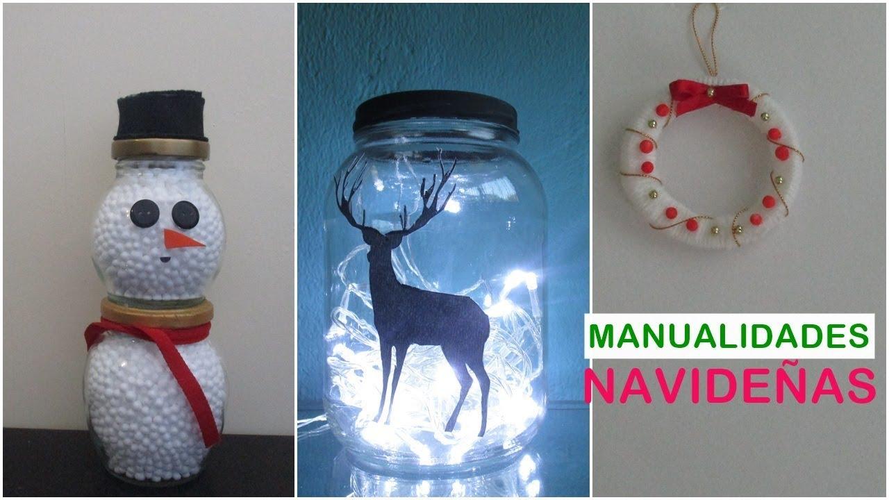 3 ideas para navidad con reciclaje adornos navide os f ciles y econ micos youtube - Manualidades para navidades faciles ...